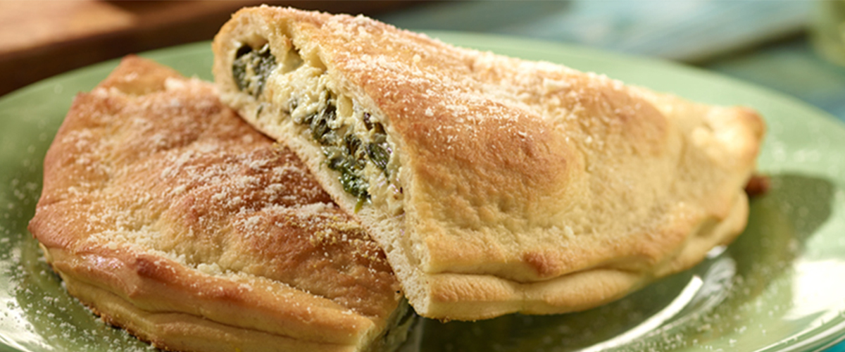 Spinach, Onion and Three Cheeze Calzone