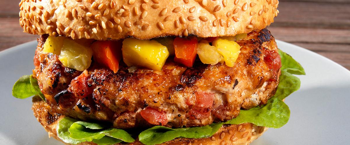 Red Gold Caribbean Chicken Burger