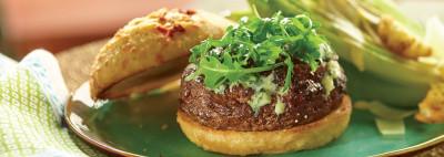 Wild Mushroom and Blue Cheese Stuffed Burger
