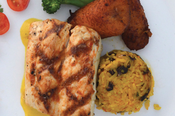 Michael Howell's Mahi Mahi with Roasted Yellow Pepper Coulis