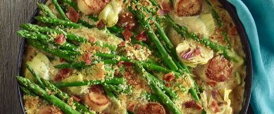 Scallops, Asparagus and Artichoke Gratin on the Big Green Egg