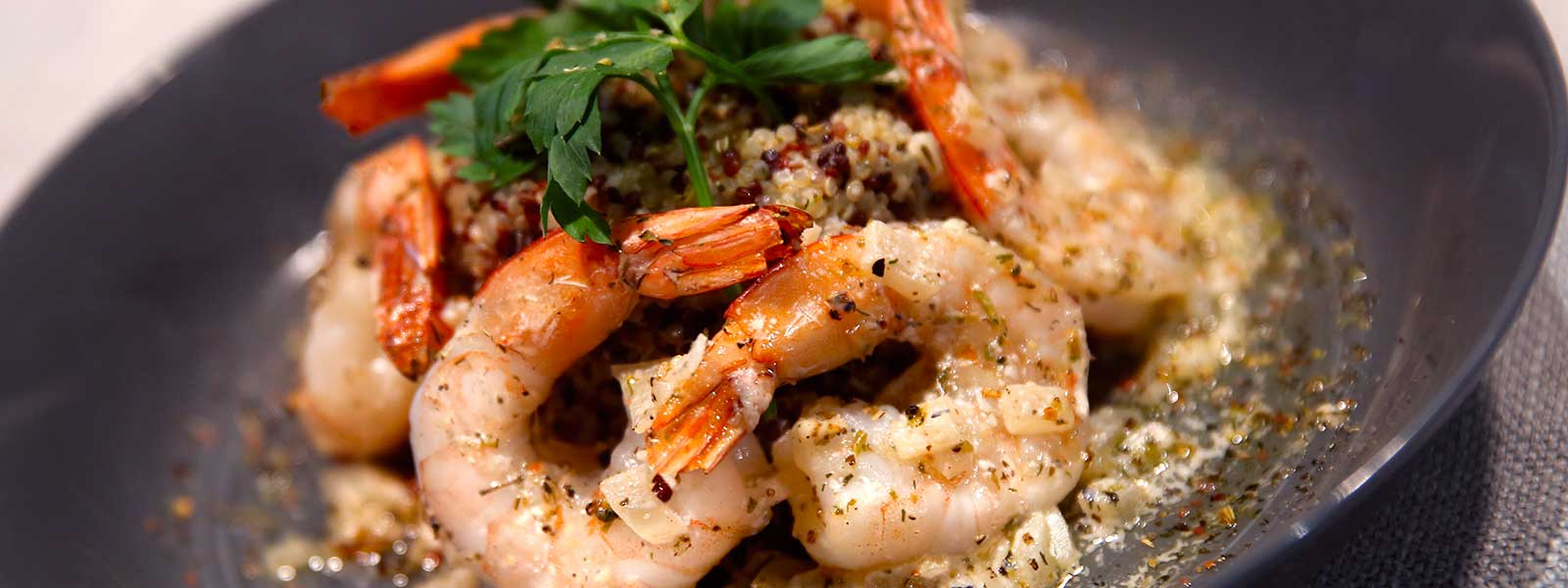 Shrimp grilled on the Big Green Egg served over a bed of Quinoa