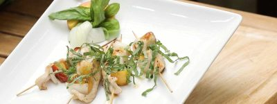 Grilled Vidalia Onion Chicken peach skewer