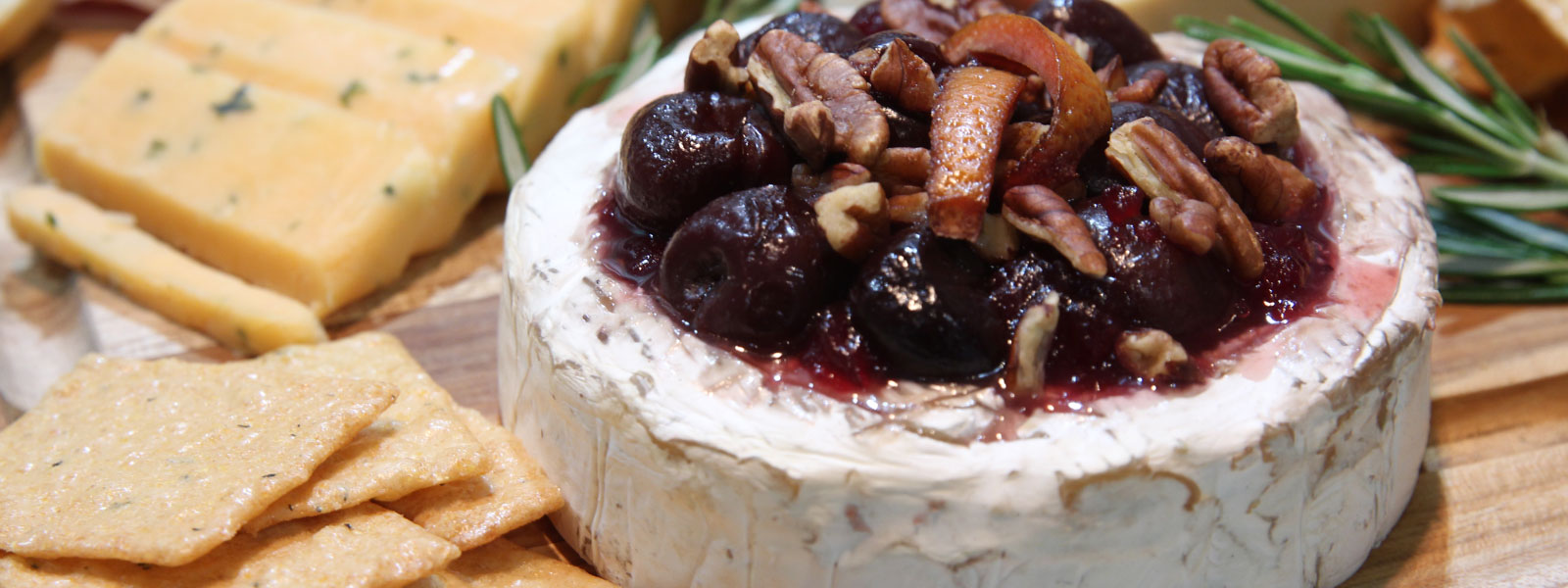 Bourbon Cherries on Cheese Board