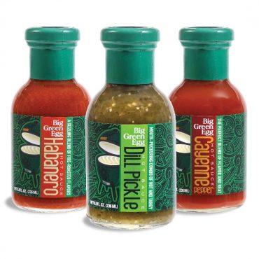 bottles Big Green Egg hot sauces, Habanero, Dill Pickle, Cayenne Pepper