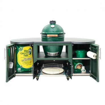 Open compartments on 76 inch Custom Cooking Island for Large EGG