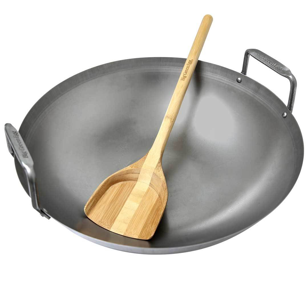 Carbon Steel Wok with wooden spadula