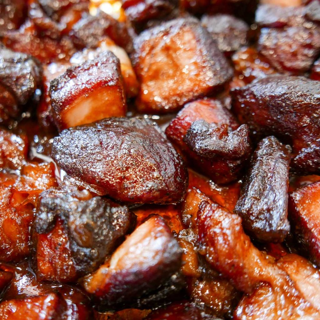 Pork-Belly-Burnt-Ends with hickory smoking chips or chunks.