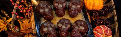 Skull Brownies with glaze
