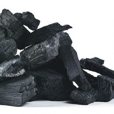 Pile of Charred Lump Charcoal