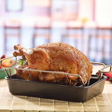 Turkey in Rib and Roast Rack with Rectangular Drip Pan on Counter