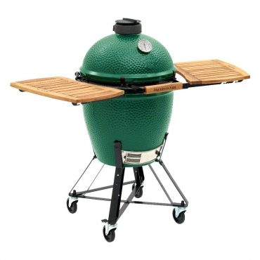 Large Big Green EGG with Acacia Wood EGG Mates in EGG Nest