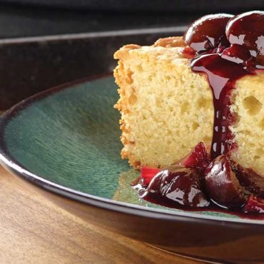 Crème Fraiche Skillet Cake with Cherries and Rhubarb
