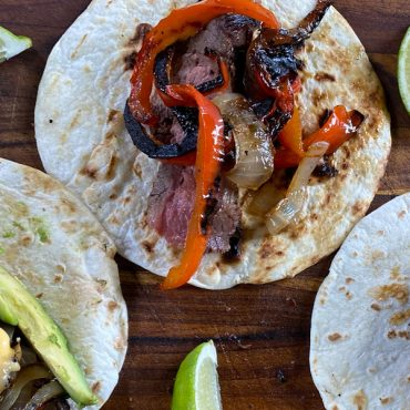 Moppin' Sauce-Marinated Flank Steak Fajitas