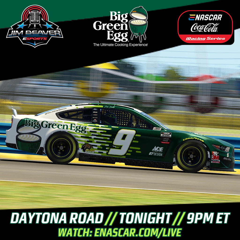 The #9 Big Green Egg Ford Mustang in the eNASCAR Series