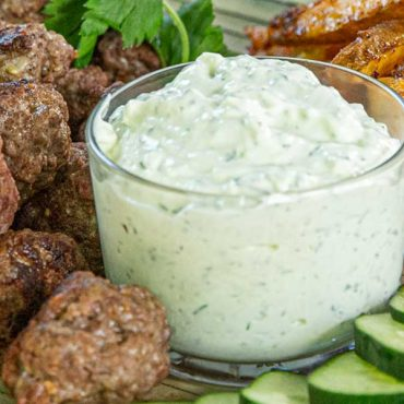Steakhouse Meatballs with French Fries and Tzatziki Sauce