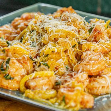 Savory Pecan Shrimp Scampi over Spaghetti Squash