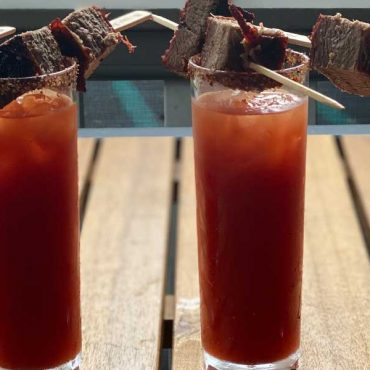 Smoked Bloody Mary with Brisket Skewers