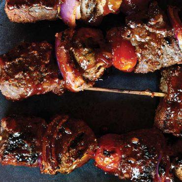 Wine Marinated Beef Skewers with Cherry Bourbon Glaze