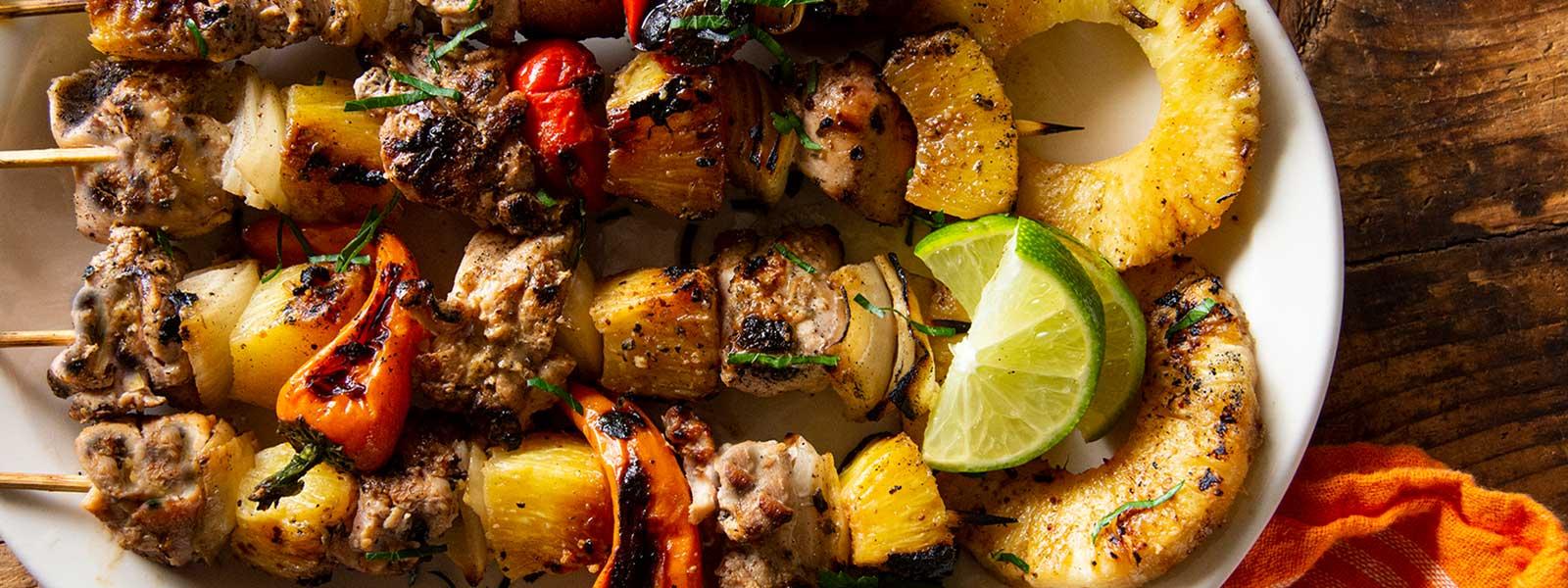 Caribbean Chicken Thigh Kebabs
