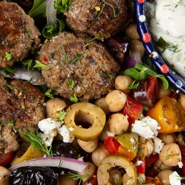 Mediterranean Salad Plate with Lamb Meatballs