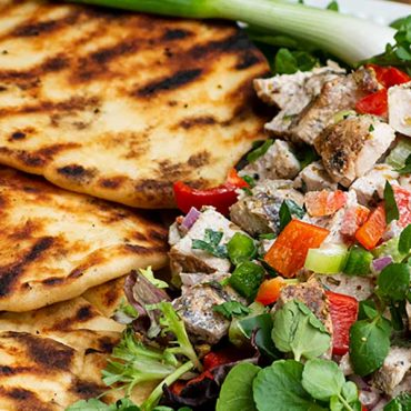 Smoked Curried Chicken Salad with Grilled Naan Bread