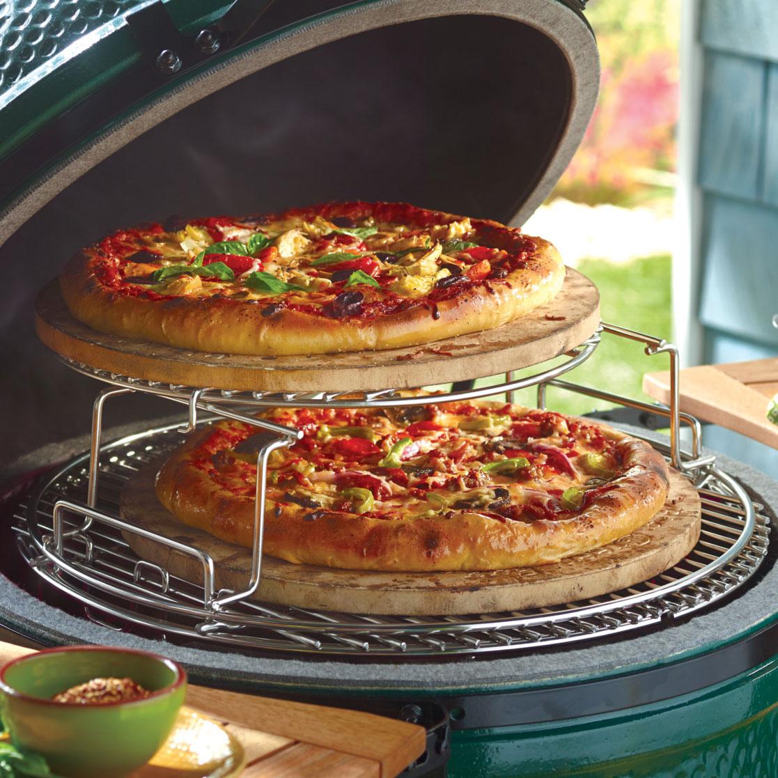 pizza baking stone on Eggspander multilevel rack with Acacia Wood Egg mates